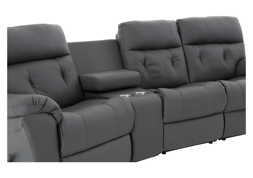 Dark Grey Home Theater Reclining Sofa with Genuine Leather Seats - ELRAN product photo other06 L