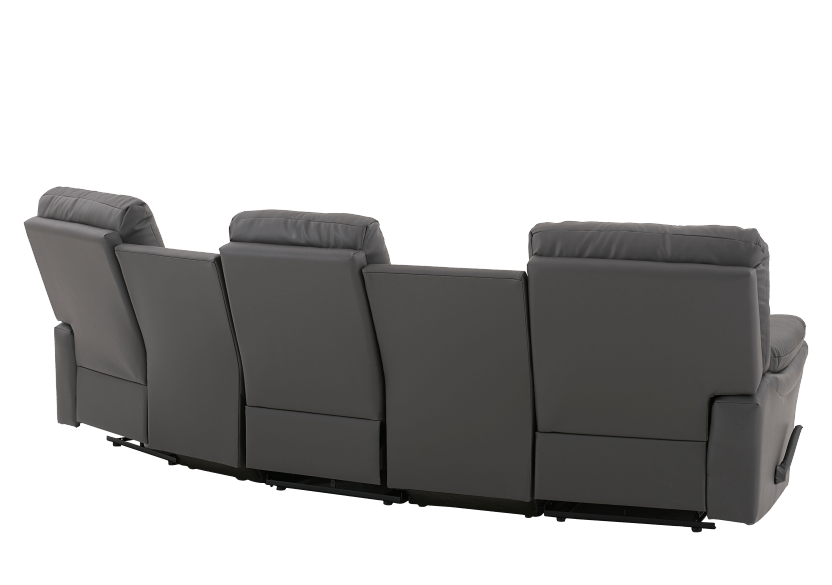 Dark Grey Home Theater Reclining Sofa with Genuine Leather Seats - ELRAN product photo other08 L