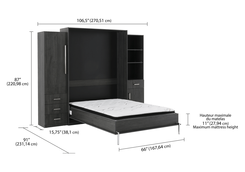 Dark Grey Wall Murphy Bed - Queen Bed product photo other05 L