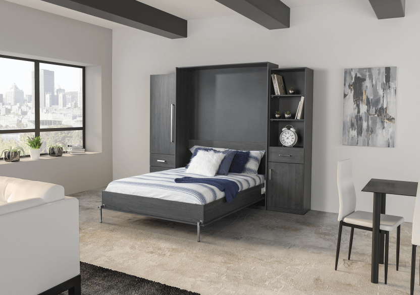 Dark Grey Wall Murphy Bed - Queen Bed product photo other10 L