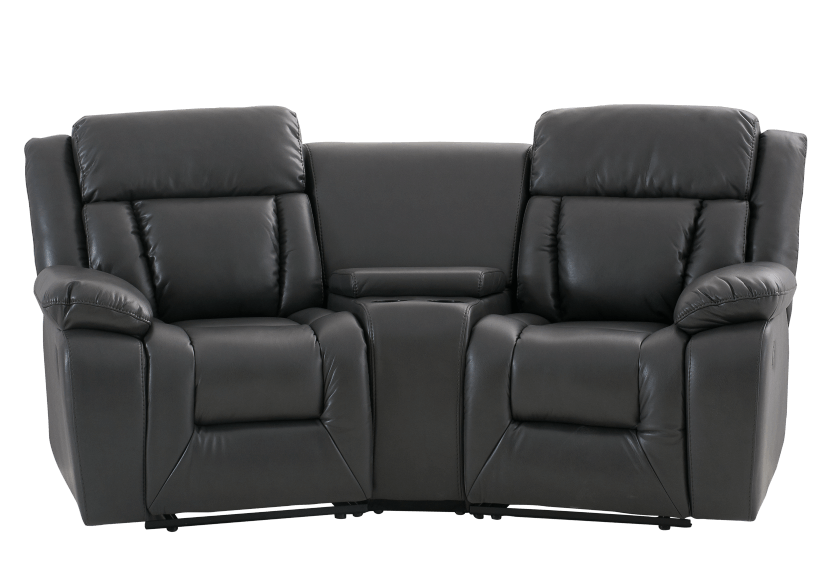 Dark Grey Reclining Loveseat product photo Front View L