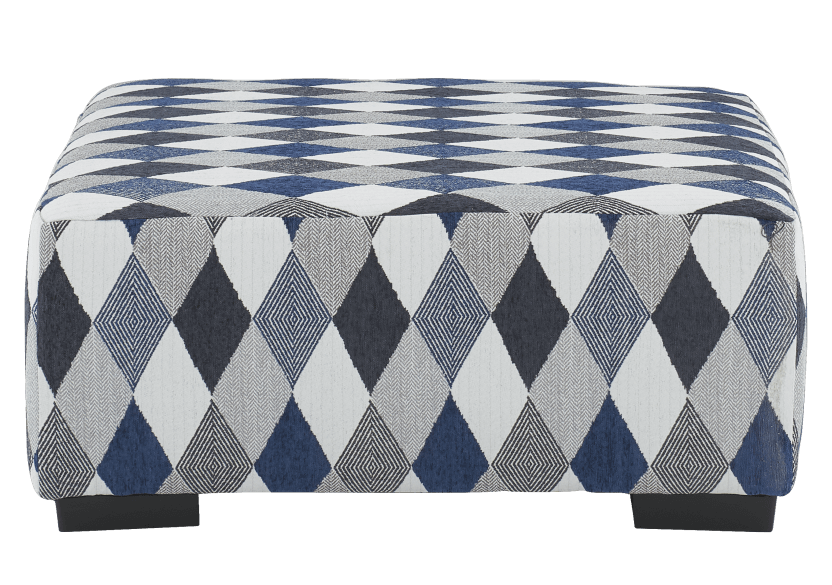 Grey and Blue Upholstered Ottoman product photo