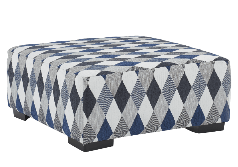 Grey and Blue Upholstered Ottoman product photo other01 L