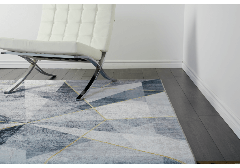 "61x93"" Grey and Golden Yellow Rug product photo Front View L"