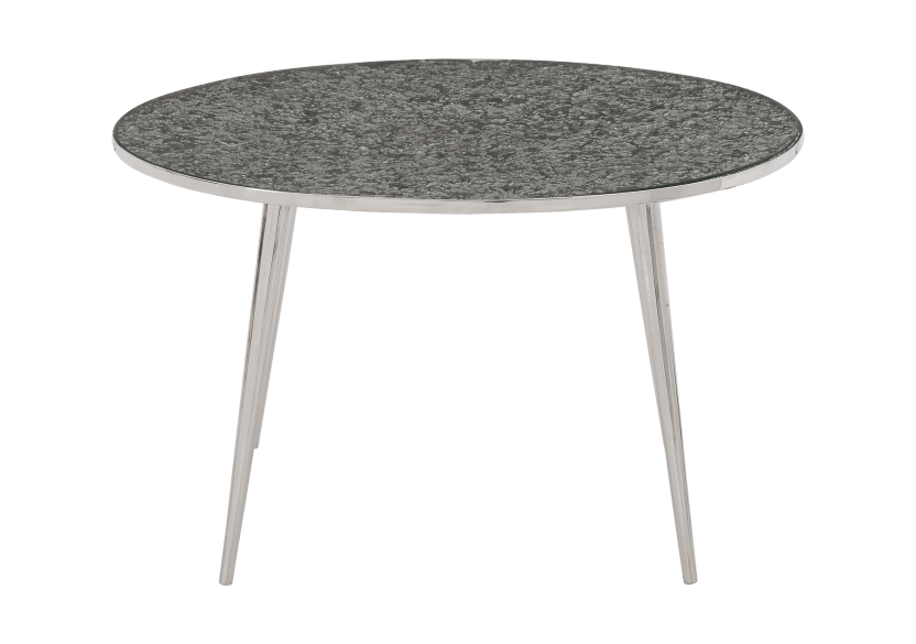 Silver Grey Metal and Tempered Glass Coffee Table product photo Front View L