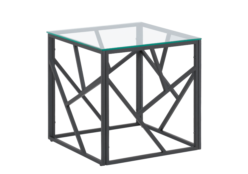 Black Metal and Glass End Table product photo other01 L