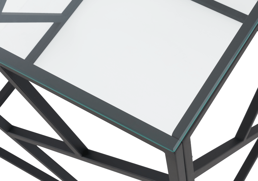 Black Metal and Glass End Table product photo other02 L