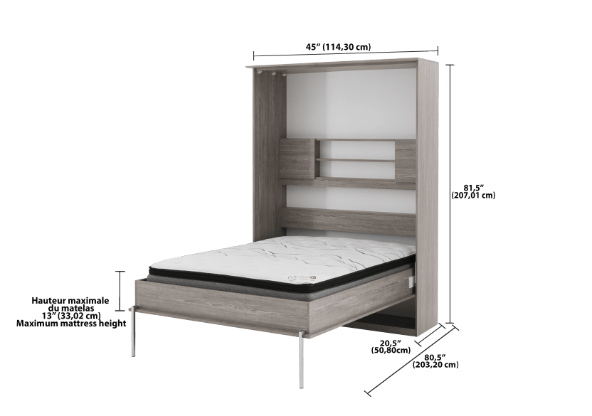 Grey Wall Murphy Bed with Storage  - Twin Bed product photo other04 L