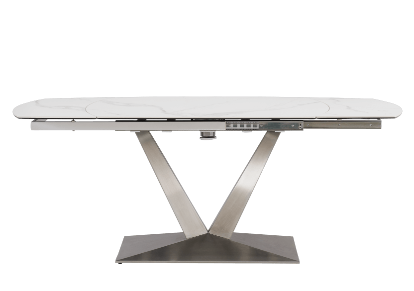 White and Grey Ceramic and Metal Table with Integrated Extension product photo other01 L