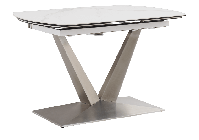 White and Grey Ceramic and Metal Table with Integrated Extension product photo other02 L