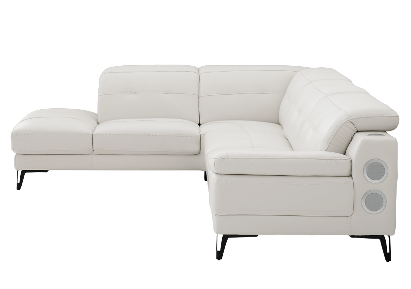 White Sectional Sofa with Genuine Leather Seats, Adjustable Headrests, Bluetooth® Speakers and a Built-in Lamp product photo other01 L