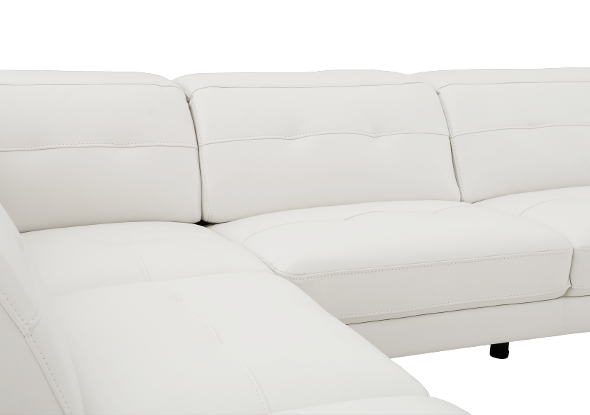 White Sectional Sofa with Genuine Leather Seats, Adjustable Headrests, Bluetooth® Speakers and a Built-in Lamp product photo other02 L