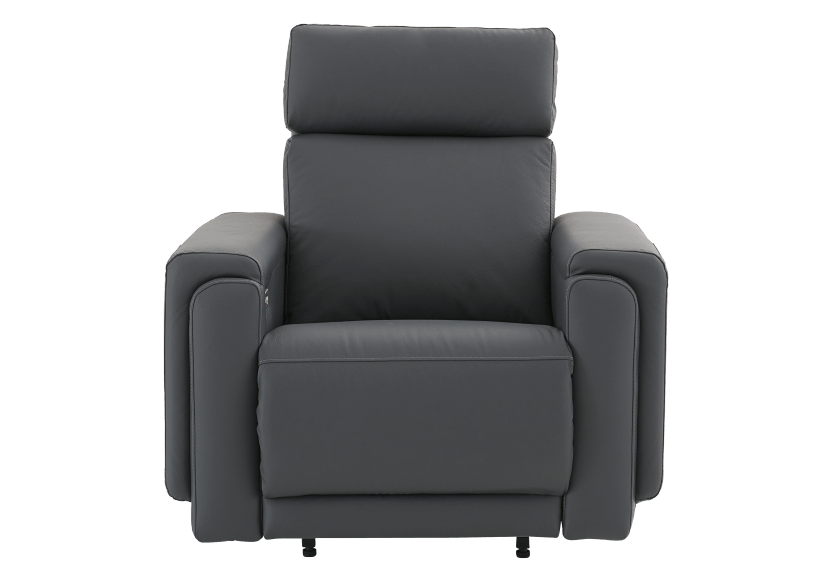 Dark Grey Reclining, Rocking and Motorized Leather Armchair with Adjustable Headrest - ELRAN product photo
