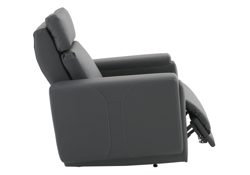 Dark Grey Reclining, Rocking and Motorized Leather Armchair with Adjustable Headrest - ELRAN product photo other03 L