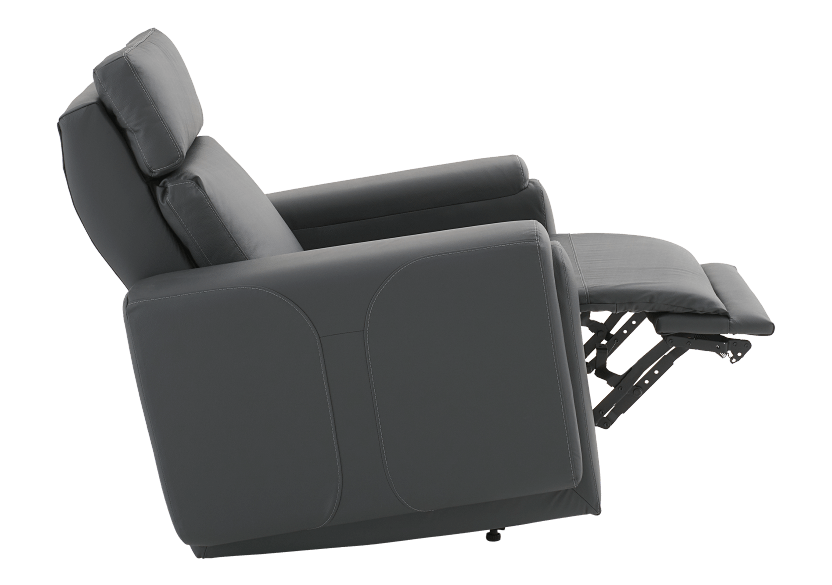 Dark Grey Reclining, Rocking and Motorized Leather Armchair with Adjustable Headrest - ELRAN product photo other04 L