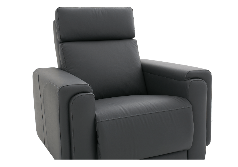 Dark Grey Reclining, Rocking and Motorized Leather Armchair with Adjustable Headrest - ELRAN product photo other06 L