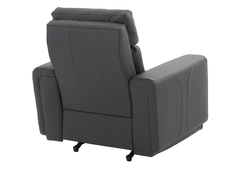 Dark Grey Reclining, Rocking and Motorized Leather Armchair with Adjustable Headrest - ELRAN product photo other08 L