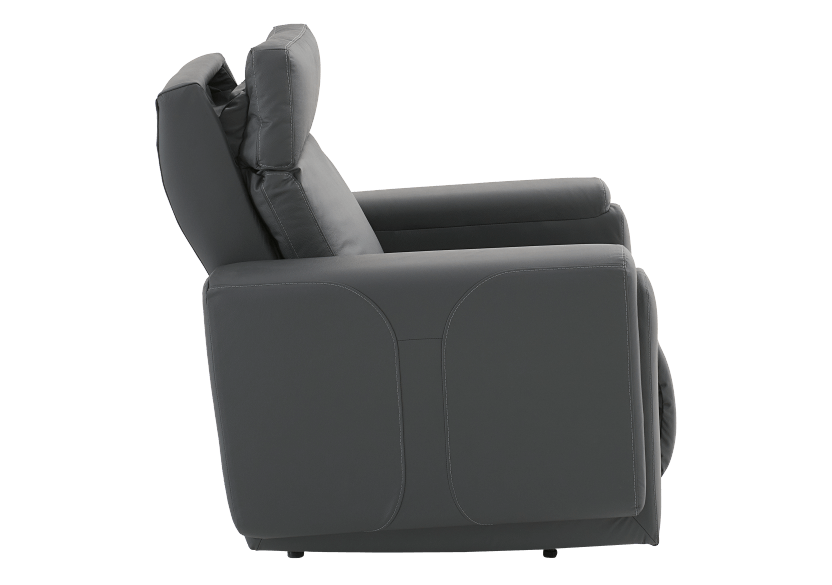Dark Grey Reclining, Rocking and Motorized Leather Armchair with Adjustable Headrest - ELRAN product photo other10 L