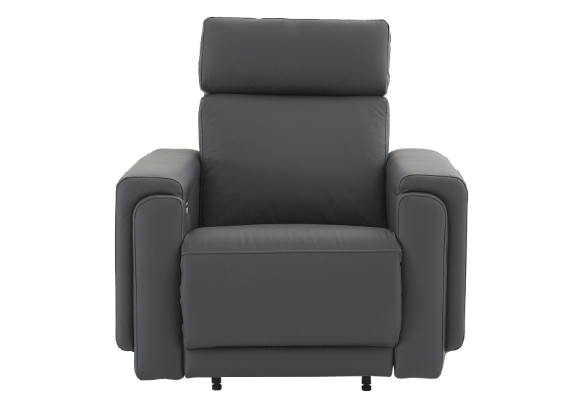 Dark Grey Reclining, Rocking and Battery Motorized Leather Armchair with Adjustable Headrest - ELRAN product photo Front View L