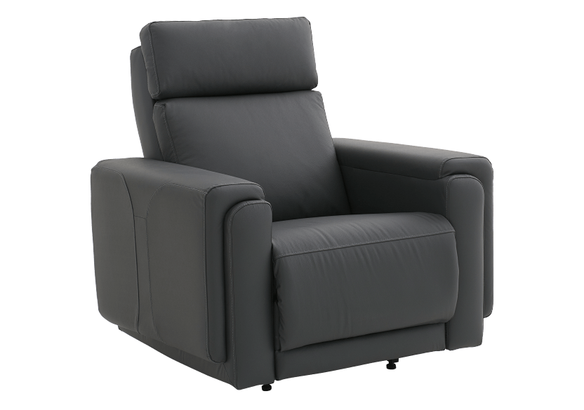 Dark Grey Reclining, Rocking and Battery Motorized Leather Armchair with Adjustable Headrest - ELRAN product photo other01 L