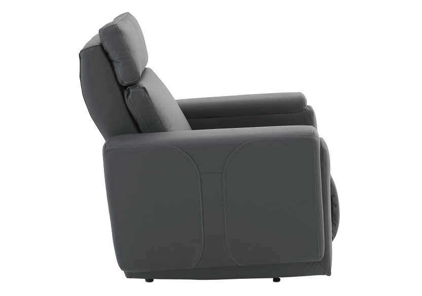 Dark Grey Reclining, Rocking and Battery Motorized Leather Armchair with Adjustable Headrest - ELRAN product photo other02 L
