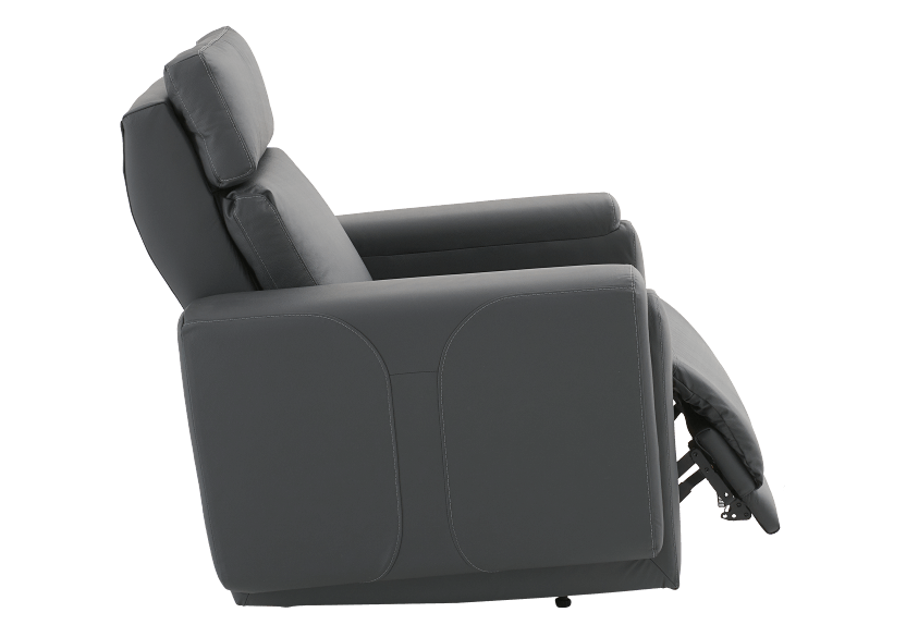 Dark Grey Reclining, Rocking and Battery Motorized Leather Armchair with Adjustable Headrest - ELRAN product photo other03 L