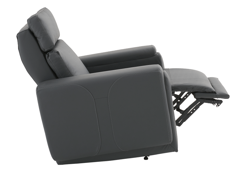 Dark Grey Reclining, Rocking and Battery Motorized Leather Armchair with Adjustable Headrest - ELRAN product photo other04 L