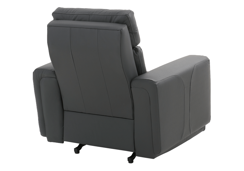 Dark Grey Reclining, Rocking and Battery Motorized Leather Armchair with Adjustable Headrest - ELRAN product photo other08 L