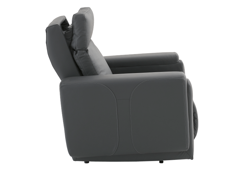 Dark Grey Reclining, Rocking and Battery Motorized Leather Armchair with Adjustable Headrest - ELRAN product photo other10 L