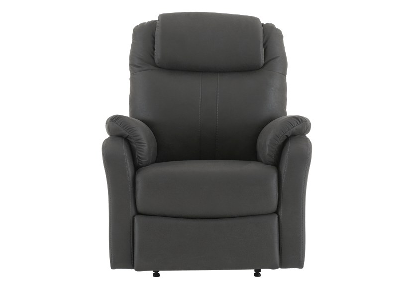 Dark Grey Reclining, Rocking and Battery Motorized Upholstered Armchair product photo Front View L