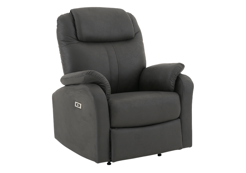 Dark Grey Reclining, Rocking and Battery Motorized Upholstered Armchair product photo other01 L