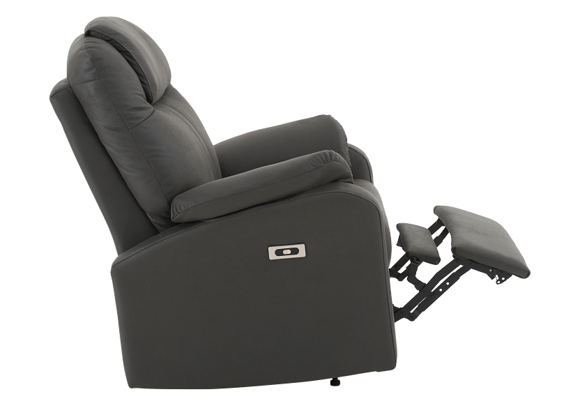 Dark Grey Reclining, Rocking and Battery Motorized Upholstered Armchair product photo other04 L