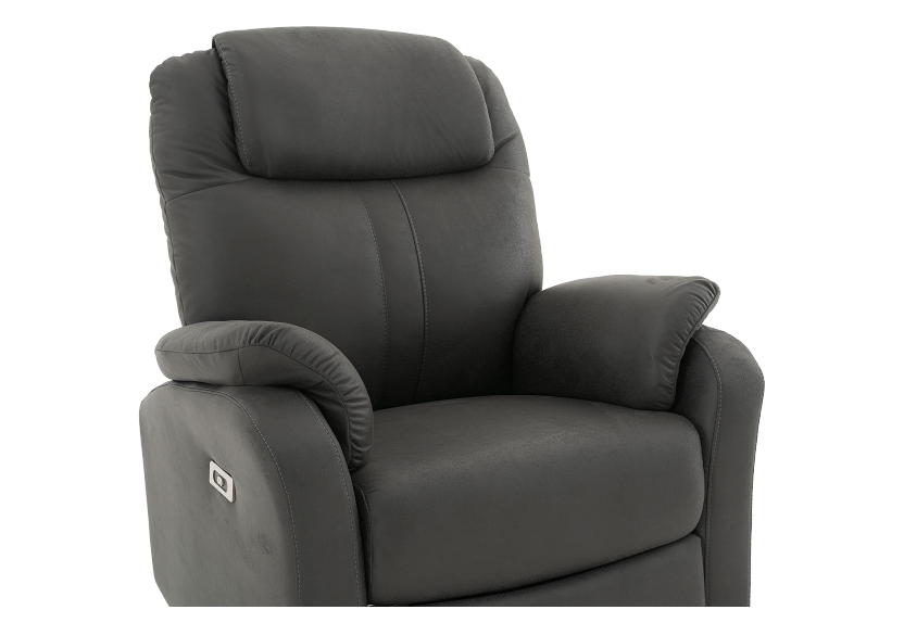 Dark Grey Reclining, Rocking and Battery Motorized Upholstered Armchair product photo other06 L