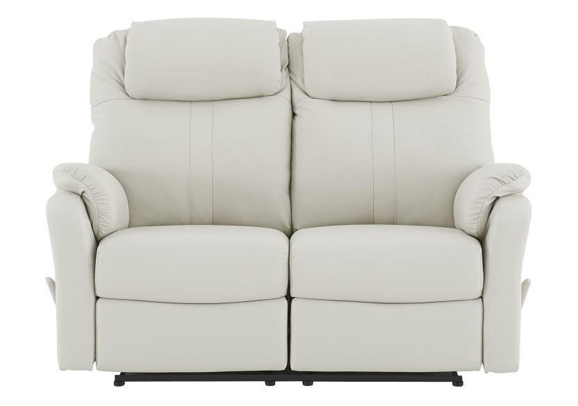 Ivory Reclining Loveseat with Genuine Leather Seats product photo Front View L