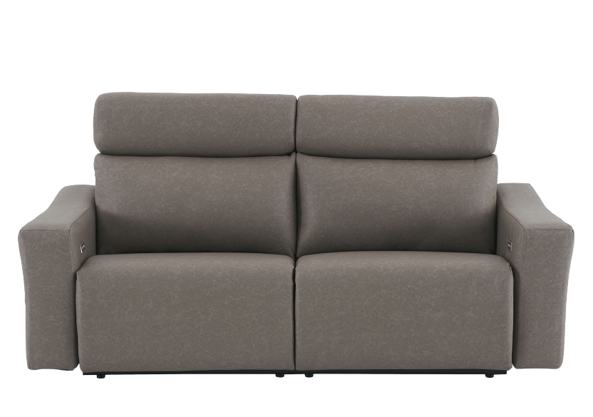 Brown-Grey Reclining and Battery Motorized Upholstered Sofa with Adjustable Headrests - ELRAN product photo