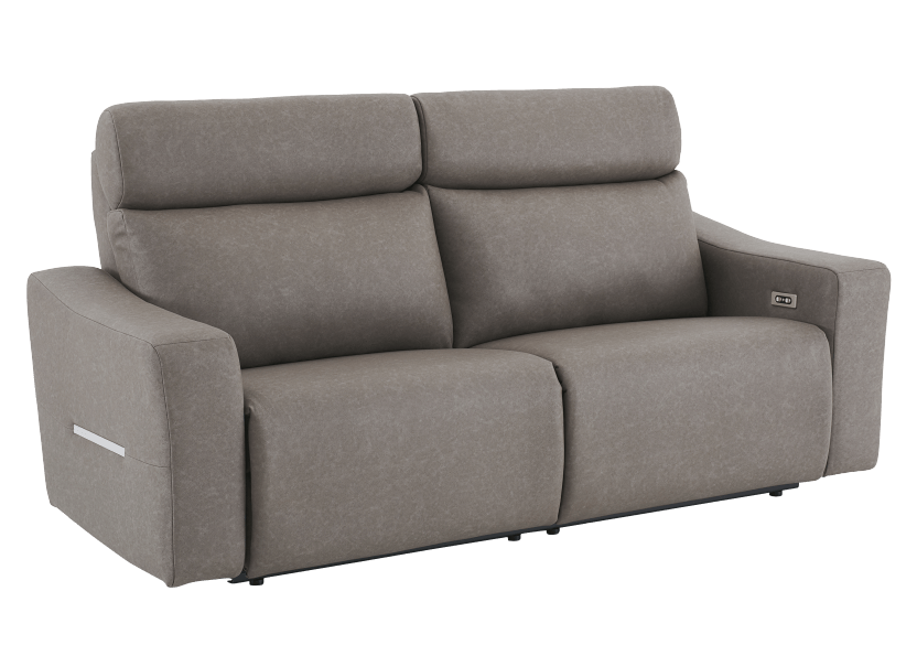 Brown-Grey Reclining and Battery Motorized Upholstered Sofa with Adjustable Headrests - ELRAN product photo other01 L
