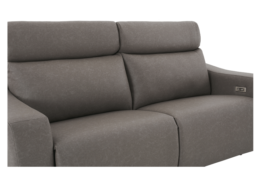 Brown-Grey Reclining and Battery Motorized Upholstered Sofa with Adjustable Headrests - ELRAN product photo other06 L
