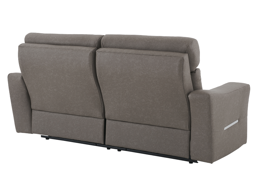 Brown-Grey Reclining and Battery Motorized Upholstered Sofa with Adjustable Headrests - ELRAN product photo other08 L