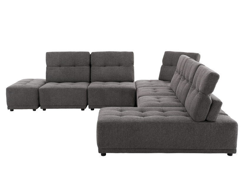 Grey Upholstered Modular Sectional Sofa with Adjustable Backrests and Headrests product photo other02 L