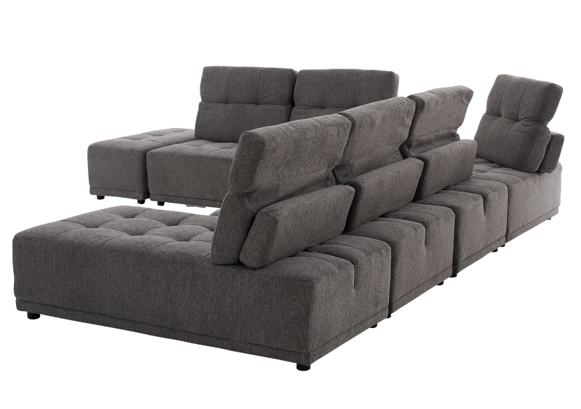 Grey Upholstered Modular Sectional Sofa with Adjustable Backrests and Headrests product photo other05 L