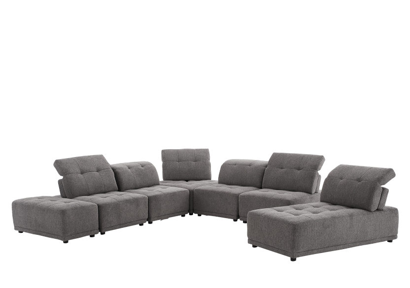 Grey Upholstered Modular Sectional Sofa with Adjustable Backrests and Headrests product photo other07 L