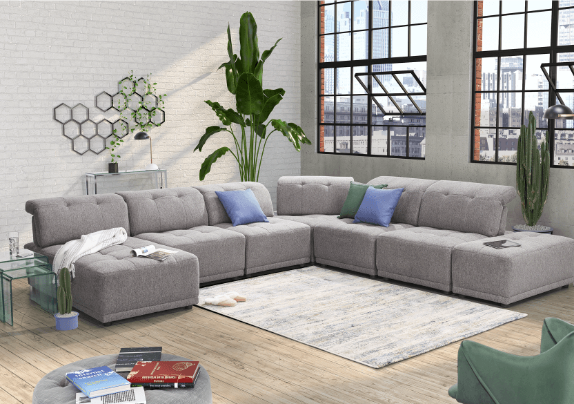Grey Upholstered Modular Sectional Sofa with Adjustable Backrests and Headrests product photo other10 L