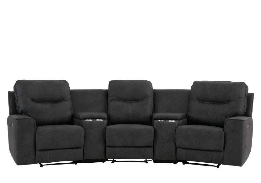 Dark Grey Home Theater Reclining and Motorized Upholstered Sofa product photo