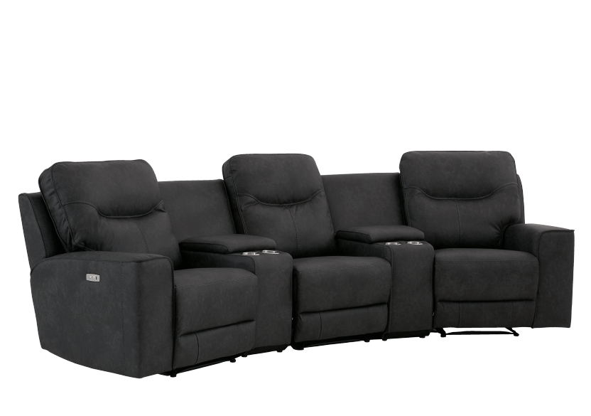 Dark Grey Home Theater Reclining and Motorized Upholstered Sofa product photo other01 L