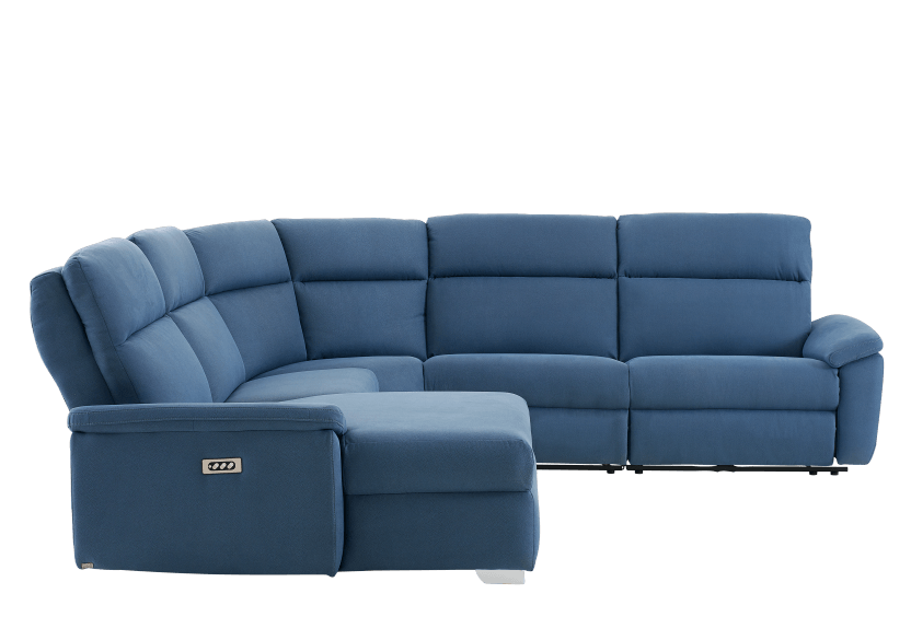 Blue Reclining and Motorized Upholstered Sectional Sofa with Adjustable Headrests - ELRAN product photo