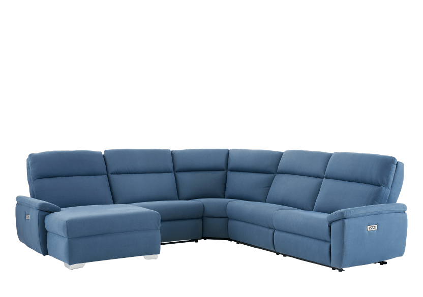 Blue Reclining and Motorized Upholstered Sectional Sofa with Adjustable Headrests - ELRAN product photo other01 L