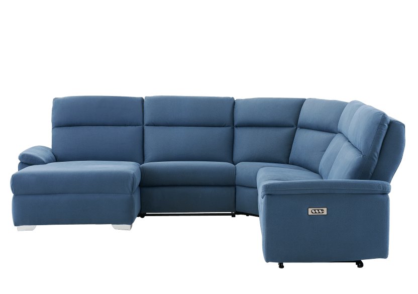 Blue Reclining and Motorized Upholstered Sectional Sofa with Adjustable Headrests - ELRAN product photo other02 L