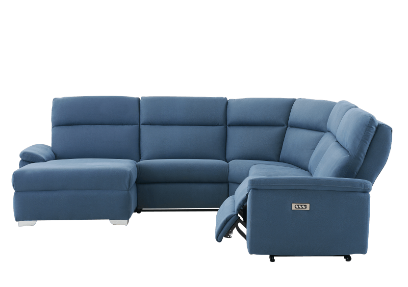 Blue Reclining and Motorized Upholstered Sectional Sofa with Adjustable Headrests - ELRAN product photo other03 L