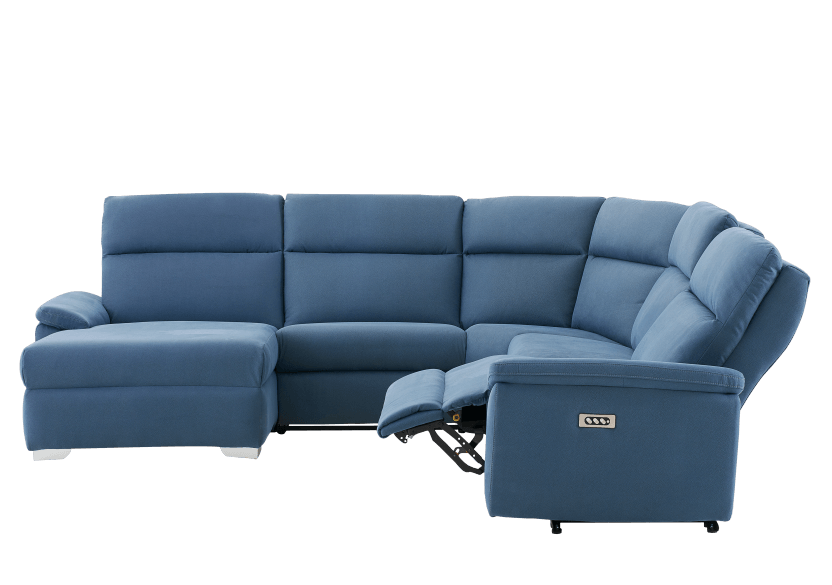 Blue Reclining and Motorized Upholstered Sectional Sofa with Adjustable Headrests - ELRAN product photo other04 L
