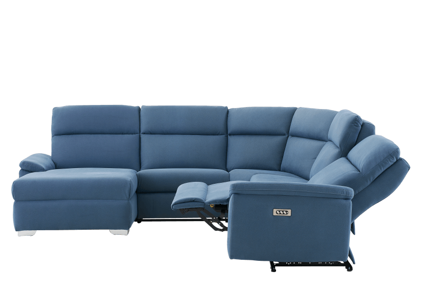 Blue Reclining and Motorized Upholstered Sectional Sofa with Adjustable Headrests - ELRAN product photo other05 L
